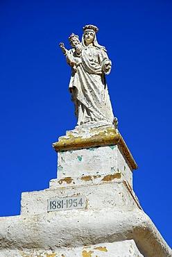 Statue of Madonna with child, Rambla Bay, Island of Gozo, Malta, Mediterranean Sea, Europe