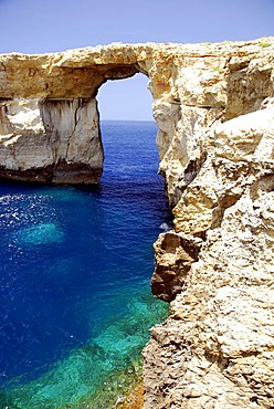Rocky coast, Azure Window at Dwejra Point, Island of Gozo, Malta, Mediterranean, Europe