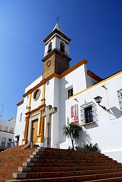 The white church Iglesia Parroquial de Las Angustias, Ayamonte, Costa de la Luz, Huelva region, Andalusia, Spain, Europe