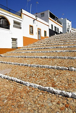 Houses with steps in the city centre of Ayamonte, Costa de la Luz, Huelva region, Andalusia, Spain, Europe