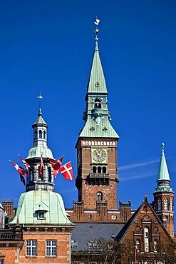 Spire, turrets, centre of Copenhagen, Denmark, Europe
