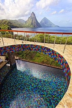 Roof terrace, pool, glazed tiles, Pitons mountains, Jade Mountain luxury hotel, Saint Lucia, Windward Islands, Lesser Antilles, Caribbean, Caribbean Sea
