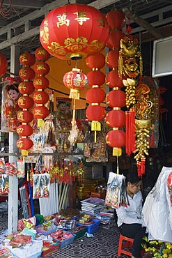 Chinese shop, Old Market, Psar Chas, Siem Reap, Cambodia, Indochina, Southeast Asia, Asia