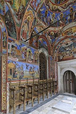 Mural and ceiling paintings, monastery church Sweta Bogorodiza, Orthodox Rila Monastery, UNESCO World Heritage Site, Bulgaria, Europe