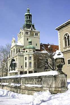 Bavarian National Museum in winter, Munich, Upper Bavaria, Germany, Europe