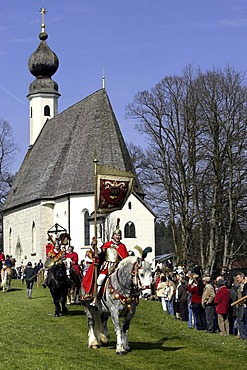 The blessing of the horses, Saint George horse parade, Traunstein, Upper Bavaria, Germany, Europe