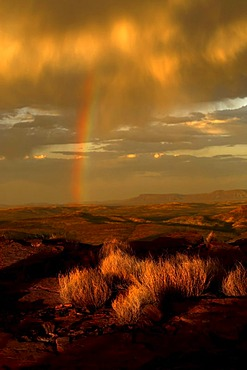 Rainbow in the Australian outback, Pilbara, Western Australia, Australia
