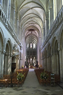 Nave, Bayeux Cathedral, Notre-Dame, Bayeux, Calvados, Region Basse-Normandie, Normandy, France, Europe