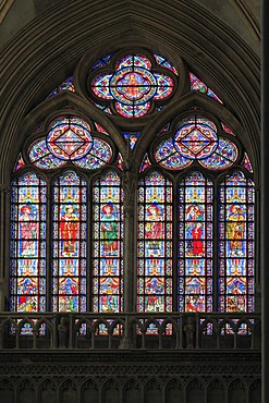 Stained glass window, Bayeux Cathedral, Notre-Dame, Bayeux, Calvados, Region Basse-Normandie, Normandy, France, Europe
