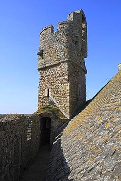 Chateau Fort de Pirou, a moated castle, Manche department, Basse-Normandie region, Normandy, France, Europe