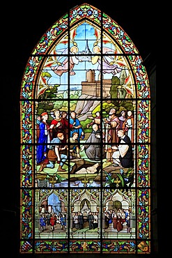 Stained glass window, church of Saint-Sulpice, Fougeres, Ille-et-Vilaine, Region Bretagne, France, Europe