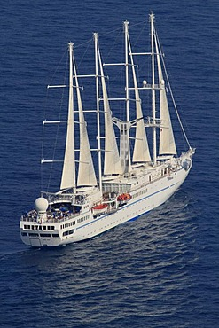 Wind Spirit cruise sailing ship sailing off Monaco, Windstar Cruises, length 134 meters, 148 passengers, 91 crew