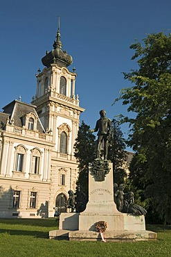 Statue of Count Gyorgy Festetics outside Baroque Festetics Palace, Keszthely, Hungary, Europe