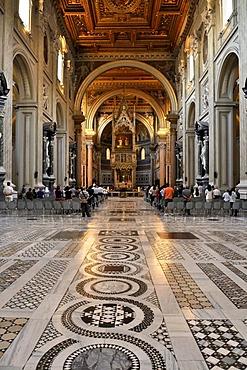 Cosmati floor, altar, nave, Basilica San Giovanni in Laterano, Basilica of St. John Lateran, Rome, Lazio, Italy, Europe