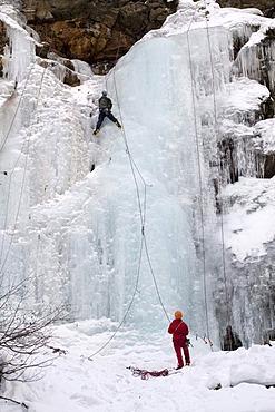 Ice climbers, Taschach Schlucht Gorge, Pitztal, Tyrol, Austria, Europe