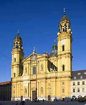 Theatine Church, Odeonsplatz square, Altstadt-Lehel district, Munich, Bavaria, Germany, Europe