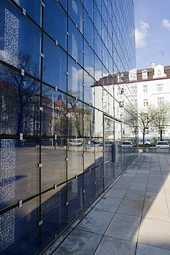 Glass facade of the Church of the Sacred Heart of Jesu, modern religious building built by the architects Allmann Sattler Wappner in 2000, Munich, Bavaria, Germany, Europe