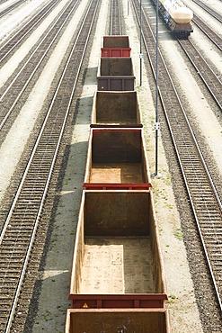 Railroad tracks, empty wagons