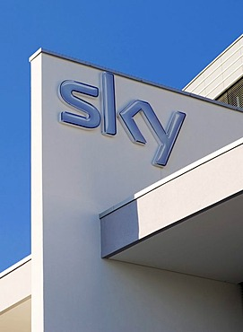Sky logo on the new headquarters of the Sky Deutschland AG, Medienallee 26, Unterfoehring, Bavaria, Germany, Europe