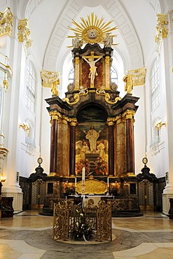 Interior view of the baroque St. Michaelis Church with altar, Hamburg, Germany, Europe