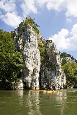 Kayaking at the Danube Gorge on the Danube River near Kelheim, Bavaria, Germany, Europe