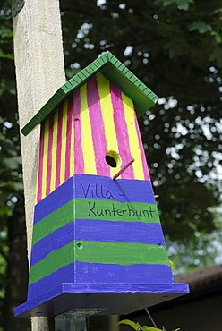 Colourfully painted bird house at the Rosenheim 2010 State Garden Show, Rosenheim, Bavaria, Germany, Europe