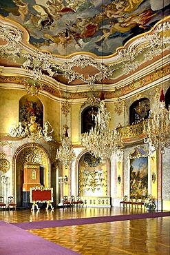 Throne room of Schloss Heidecksburg castle, Rudolstadt, Thuringia, Germany, Europe
