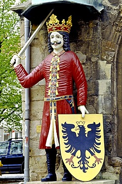 Nordhaeuser Roland on the town hall, Nordhausen, Thuringia, Germany, Europe