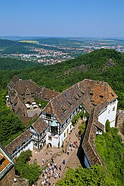 View from the castle tower, Wartburg castle, Eisenach, Thuringia, Germany, Europe