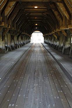 Listed historic wooden bridge over the River Aare, Wangen an der Aare, Canton of Bern, Switzerland, Europe