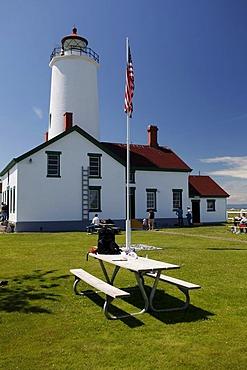 Dungeness Lighthouse on the sandspit of Olympic Peninsula, Sequim, Washington, USA