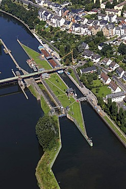 Aerial view, Mosel River lock in Koblenz, Rhineland-Palatinate, Germany, Europe