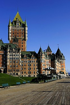 Chateau Frontenac castle in the historic old town of Quebec City, Quebec, Canada