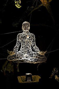 Buddha light installation in Cortili dell'arte 2010, Villaricca, Naples, Campania, Italy, Europe