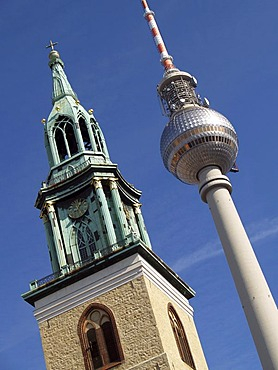 St. Marienkirche church and TV Tower, Mitte district, Berlin, Germany, Europe