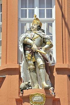 Kaiser figure at the portal of the Gutenberg Museum, Mainz, Rhineland-Pfalz, Germany, Europe