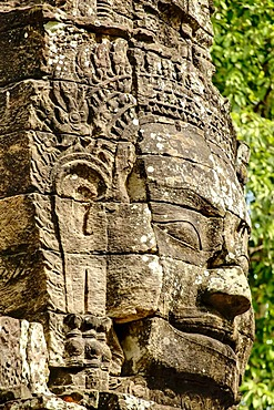 Stone face, Ta Som, Angkor Wat complex, Siem Reap, Cambodia, Southeast Asia, Asia
