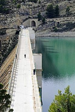 Embalse del Rio Amadorio, reservoir of the Rio Amadorio river, dam, Villajoyosa, Vila Joiosa, Costa Blanca, Alicante province, Spain, Europe