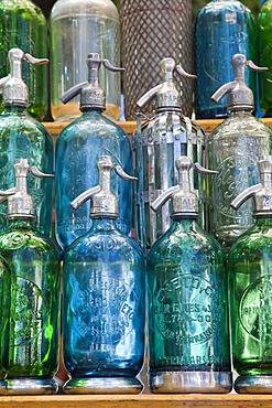 Antique siphon bottles, San Telmo Antiques Market, Plaza Dorrego, Buenos Aires, Argentina, South America