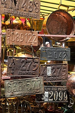 Rusty house number and car plates, San Telmo Antiques Market, Plaza Dorrego, Buenos Aires, Argentina, South America