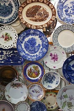 Antique bone china plates at San Telmo Market, Plaza Dorrego, Buenos Aires, Argentina, South America