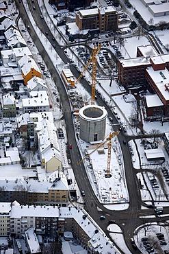 Aerial view, former bunker, office building, Exzenter Haus house, Universitaetsstrasse street, Bochum, Ruhrgebiet region, North Rhine-Westphalia, Germany, Europe