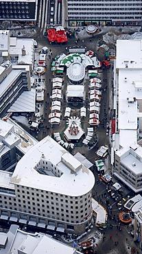 Aerial view, Sparkasse Bochum bank, city savings bank, Christmas market, Bochum, Ruhrgebiet region, North Rhine-Westphalia, Germany, Europe