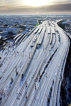 Aerial picture, snow-covered tracks, winter, Hamm Central Station, Ruhr area, North Rhine-Westphalia, Germany, Europe