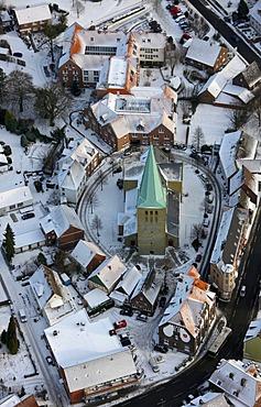 Aerial picture, church, Rhynern, Hamm, Ruhr Area, North Rhine-Westphalia, Germany, Europe
