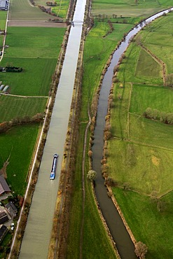 Aerial picture, Wesel-Datteln canal, Lippe, Huenxe, North Rhine-Westphalia, Germany, Europe