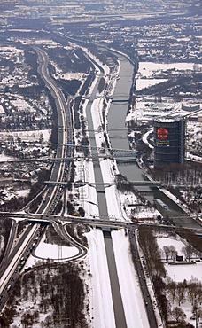 Aerial view, A42 highway, Emscher Gasometer, Rhein-Herne Canal, Oberhausen, Ruhrgebiet region, North Rhine-Westphalia, Germany, Europe