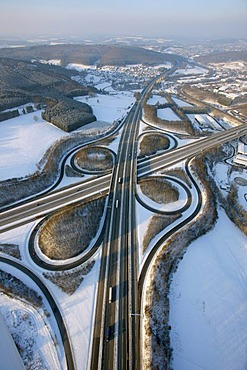 Aerial photo, highway intersection Olpe A4, A45, Sauerlandlinie, snow, winter, Wenden, North Rhine-Westphalia, Germany, Europe