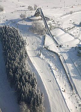 Aerial view, ski jump, snow, winter, Winterberg, North Rhine-Westphalia, Germany, Europe