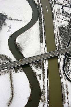 Aerial view, snow, Wesel-Datteln Canal, Lippe river, bridge, A3 motorway Oestrich, Dorsten, Ruhrgebiet area, North Rhine-Westphalia, Germany, Europe